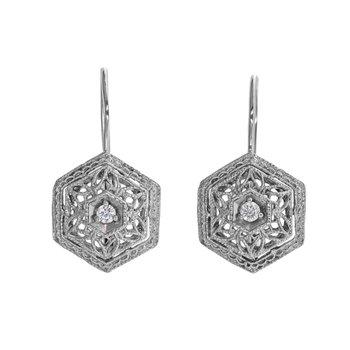 Hexagon Diamond Drop Earrings