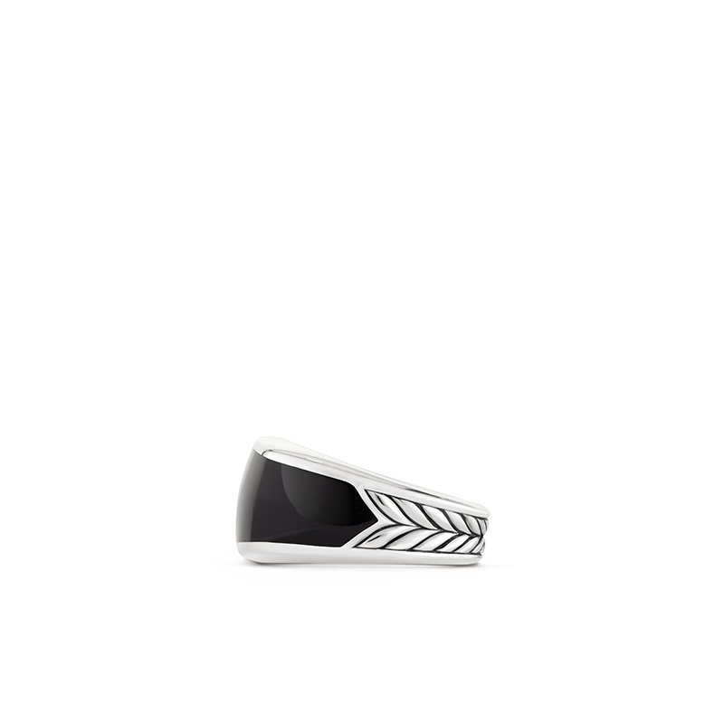 David Yurman Exotic Stone Narrow Three-Sided Ring with Black Onyx