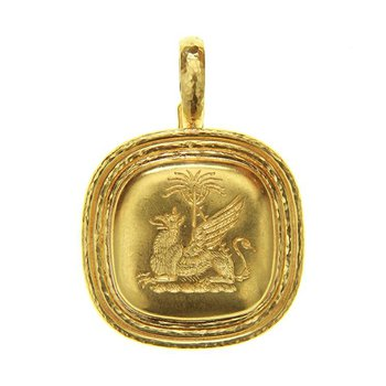 """Gold """"Griffin & Palm"""" Livery Button Pendant"""
