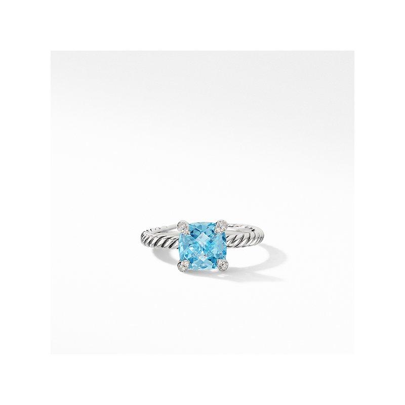 David Yurman Chatelaine Ring with Blue Topaz and Diamonds