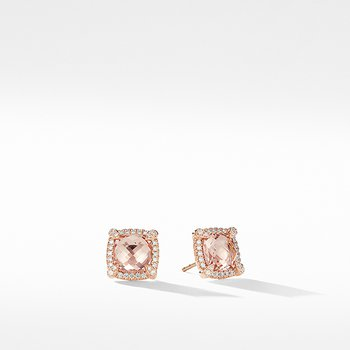 Chatelaine Pave Bezel Stud Earrings in 18K Rose Gold with Morganite