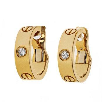 Diamond Love Hoop Earrings