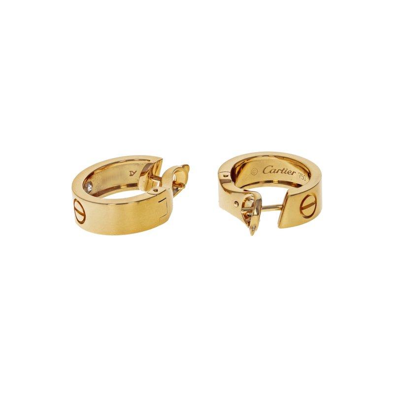 Estate Cartier Diamond Love Hoop Earrings