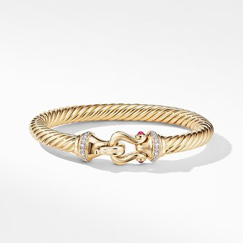 Buckle Bracelet in 18K Yellow Gold with Diamonds and Rubies