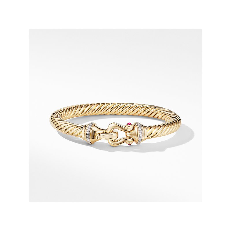 David Yurman Buckle Bracelet in 18K Yellow Gold with Diamonds and Rubies