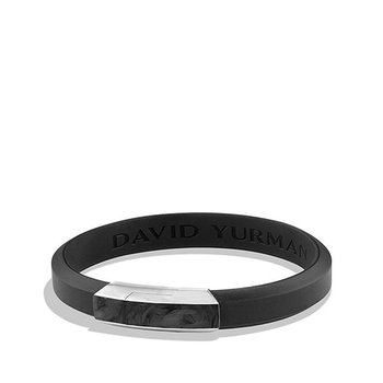 Forged Carbon Rubber ID Bracelet in Black
