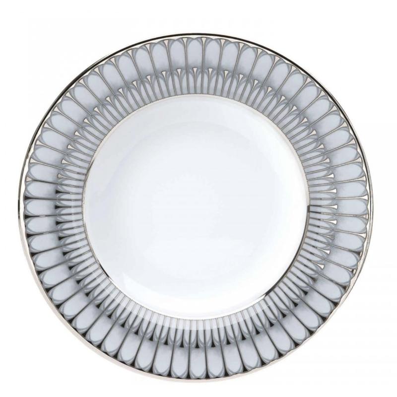 Philippe Deshoulieres Arcades Grey & Platinum Rim Soup Bowl