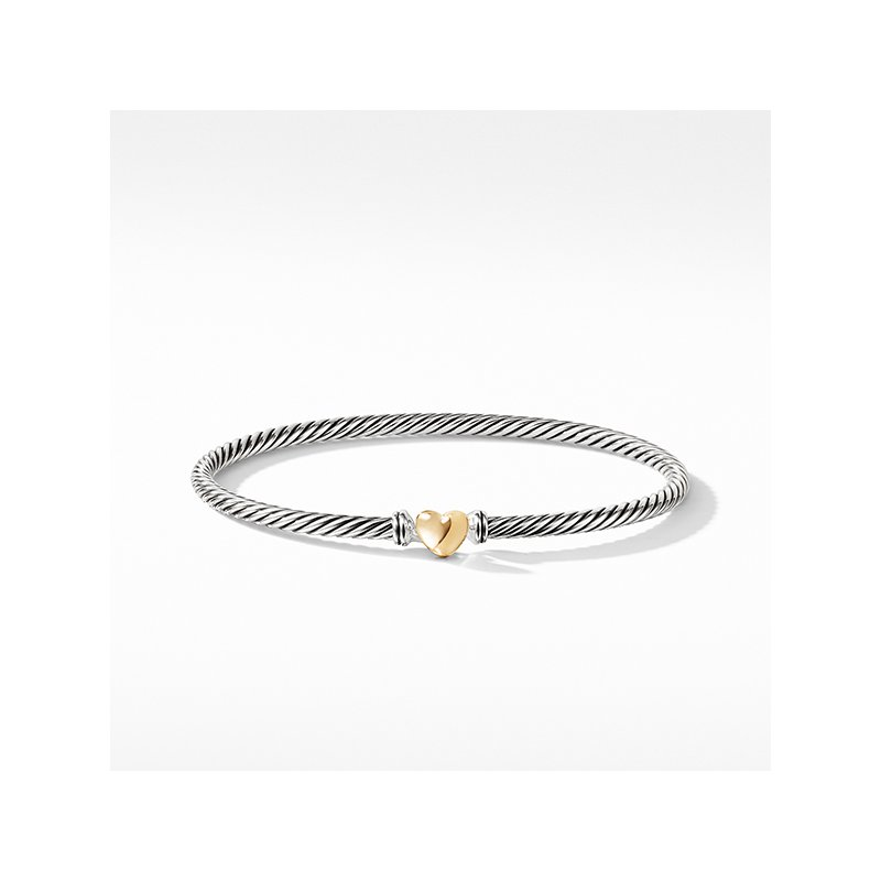 David Yurman Cable Collectibles Heart Bracelet with Gold