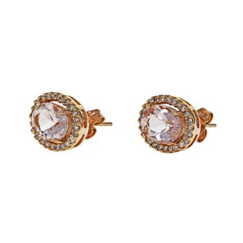 Morganite & Diamond Halo Stud Earrings