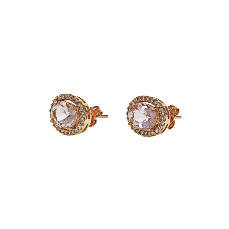 Estate Radcliffe Morganite & Diamond Halo Stud Earrings