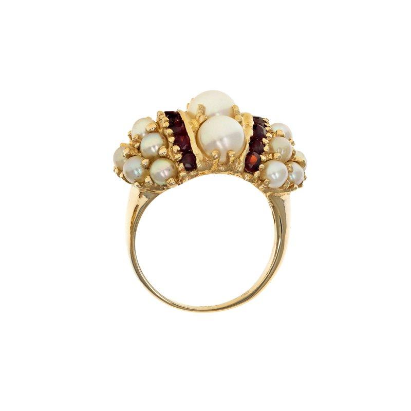 Estate Radcliffe Pearl & Garnet Cluster Ring