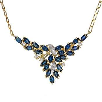 Diamond & Sapphire Drop Cluster Necklace