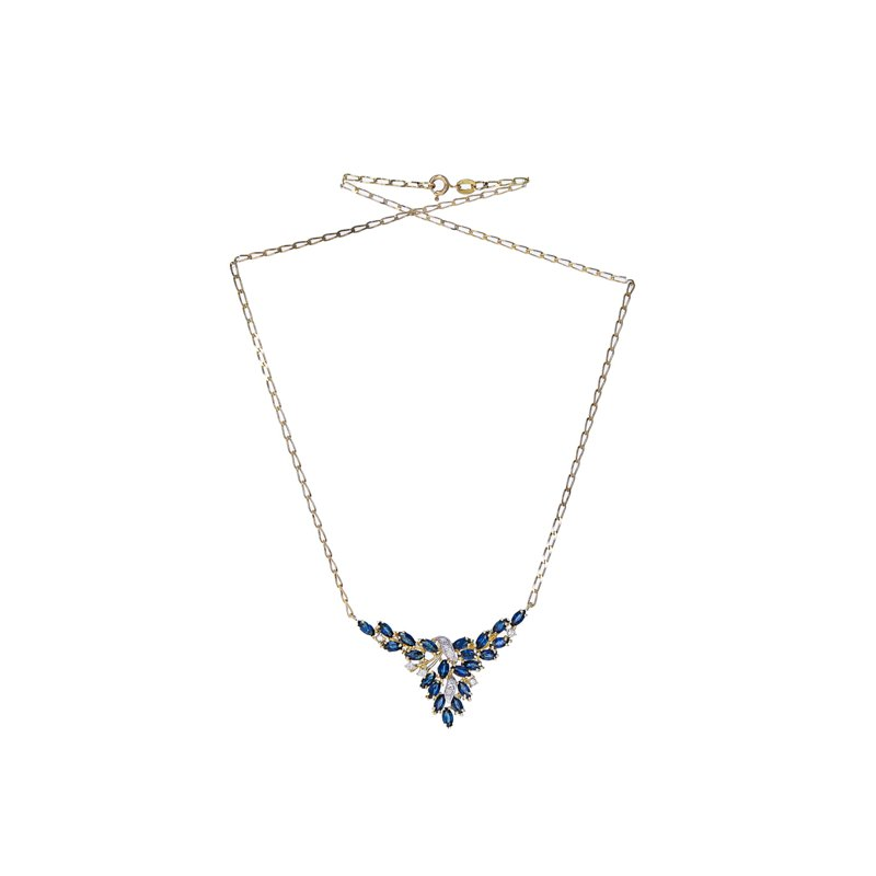 Estate Radcliffe Diamond & Sapphire Drop Cluster Necklace