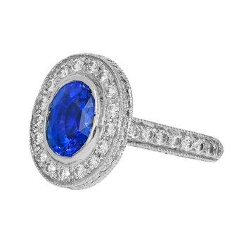 Blue Sapphire & Diamond Halo Ring
