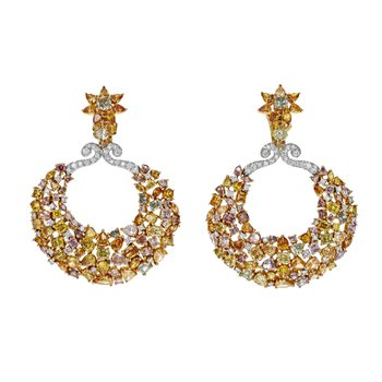 Natural Fancy Color Diamond Drop Earrings