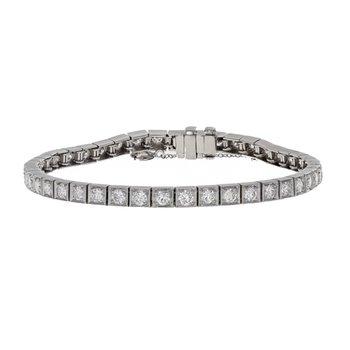 Square Link Diamond Tennis Bracelet