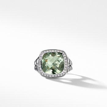 Ring with Prasiolite and Diamonds