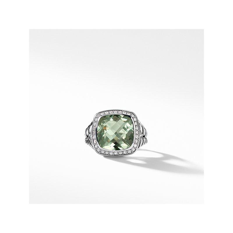 David Yurman Ring with Prasiolite and Diamonds