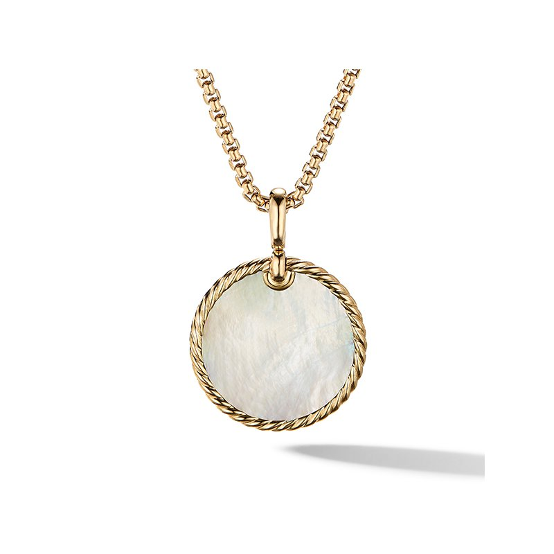 David Yurman DY Elements Reversible Disc Pendant in 18K Yellow Gold with Black Onyx and Mother of Pearl