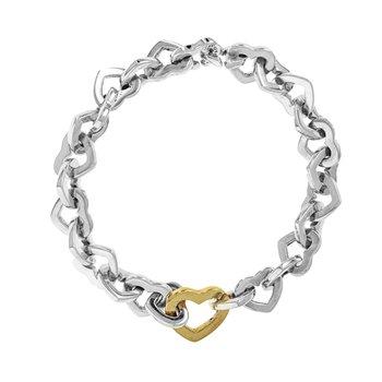 Two-Tone Heart Link Bracelet