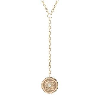 Small Sunbeam Diamond Bezel Medallion on Small Oval Link Lariat