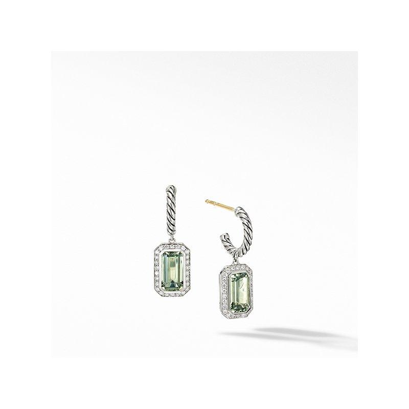 David Yurman Novella Drop Earrings with Prasiolite and Pave Diamonds