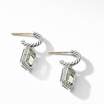 Novella Drop Earrings with Prasiolite and Pave Diamonds
