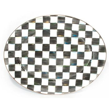 Courtly Check Enamel Oval Platter, Large