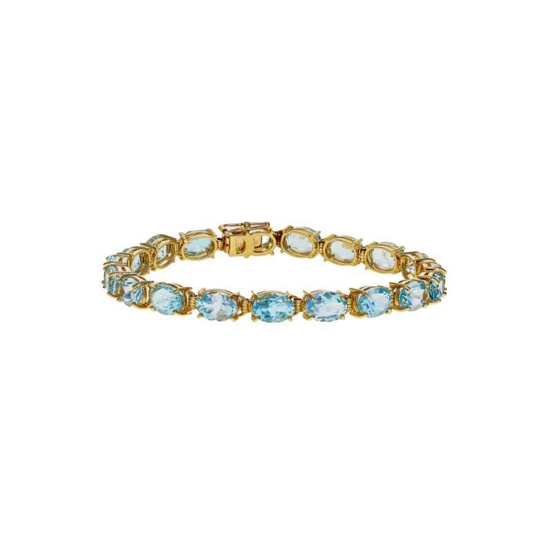Estate Radcliffe Oval Blue Topaz Tennis Bracelet