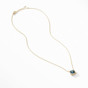 Petite Chatelaine Pave Bezel Pendant Necklace in 18K Yellow Gold with Hampton Blue Topaz