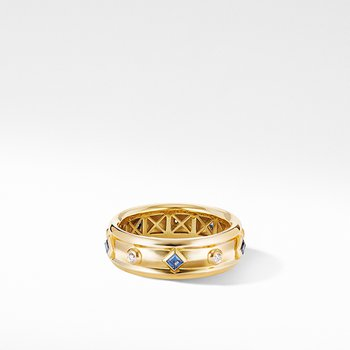 Modern Renaissance Ring in 18K Yellow Gold with Blue Sapphires and Diamonds