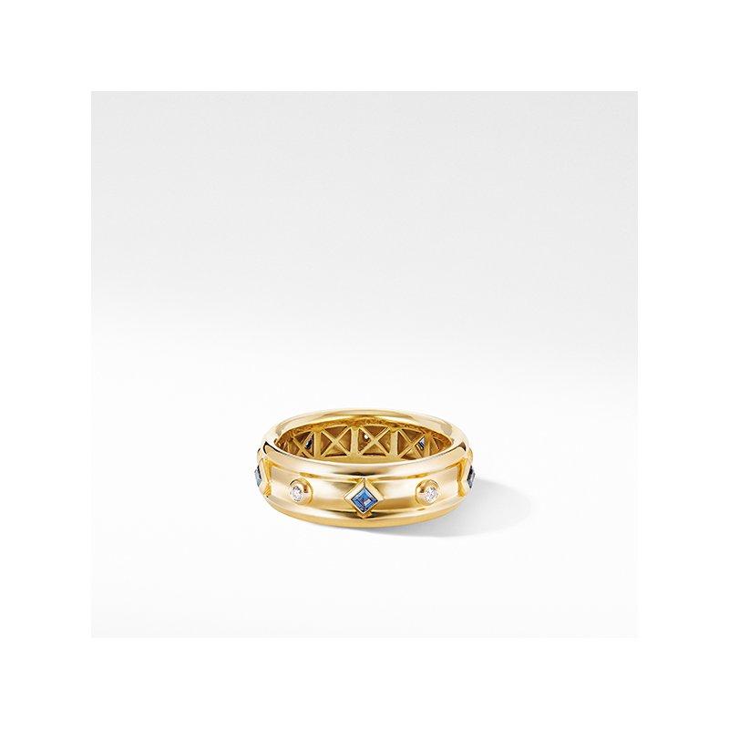 David Yurman Modern Renaissance Ring in 18K Yellow Gold with Blue Sapphires and Diamonds