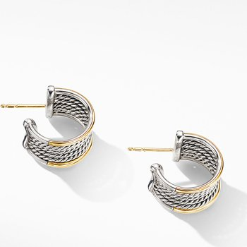 DY Origami Cable Huggie Hoops with 18K Yellow Gold