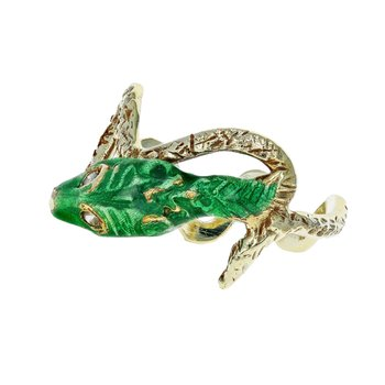 Antiqued Enamel Snake Ring