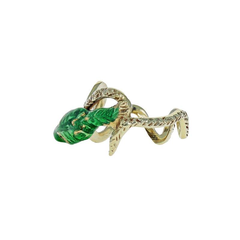 Estate Radcliffe Antiqued Enamel Snake Ring