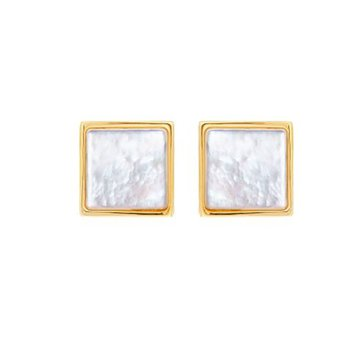 Square Mother-of-Pearl Stud Earrings