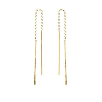 Short Hammered Wire Threader Earrings