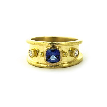 Blue Sapphire and Diamond Cigar Band