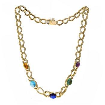 Multicolor Cabochon Link Necklace