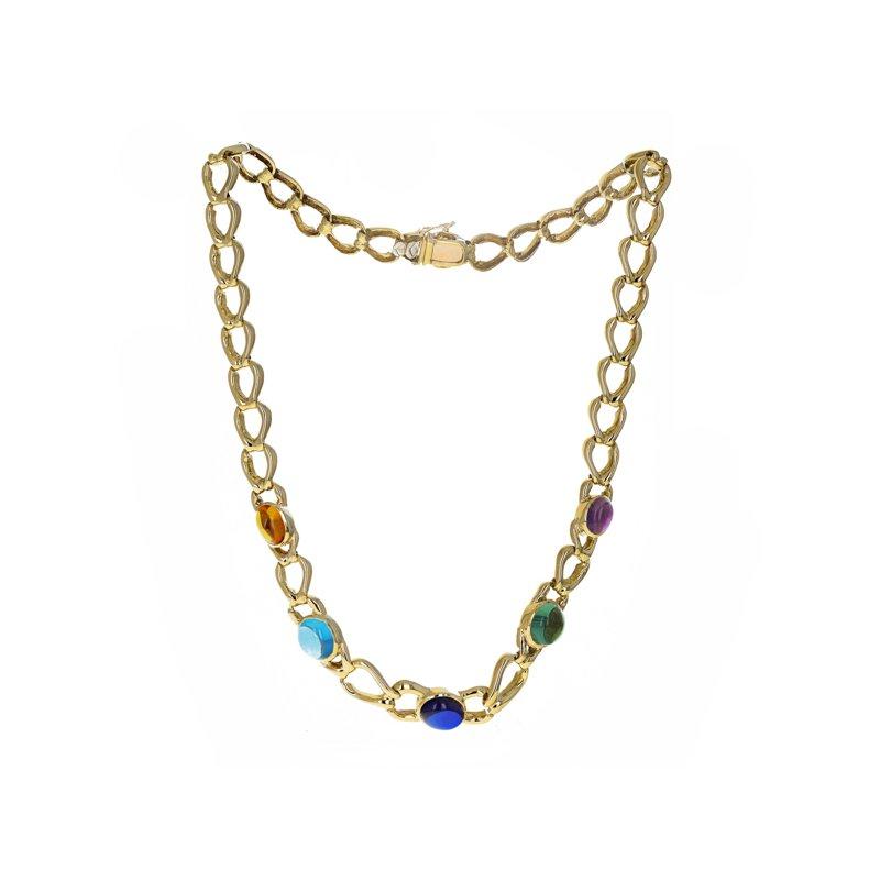 Estate Radcliffe Multicolor Cabochon Link Necklace