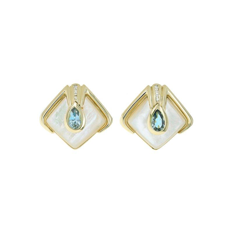 Estate Radcliffe Diamond, Blue Topaz & MOP Clip-On Earrings