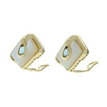 Diamond, Blue Topaz & MOP Clip-On Earrings