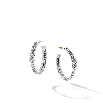 Petite X Hoop Earrings with Pave Diamonds