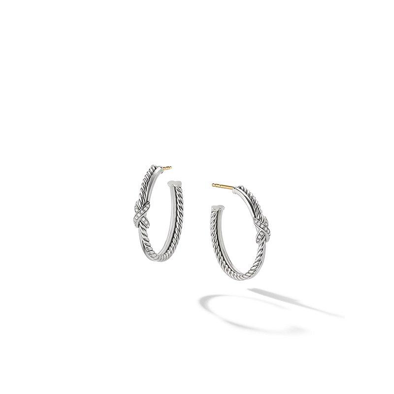 David Yurman Petite X Hoop Earrings with Pave Diamonds