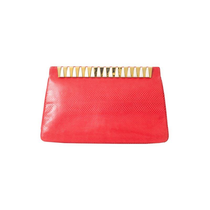 Judith Leiber Red Lizard Karung Clutch Bag