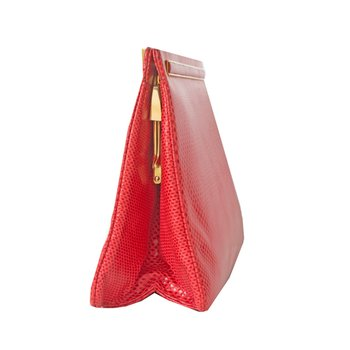 Red Lizard Karung Clutch Bag