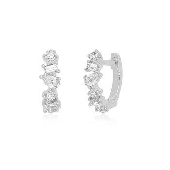 Multi Faceted Diamond Mini Huggie Earrings