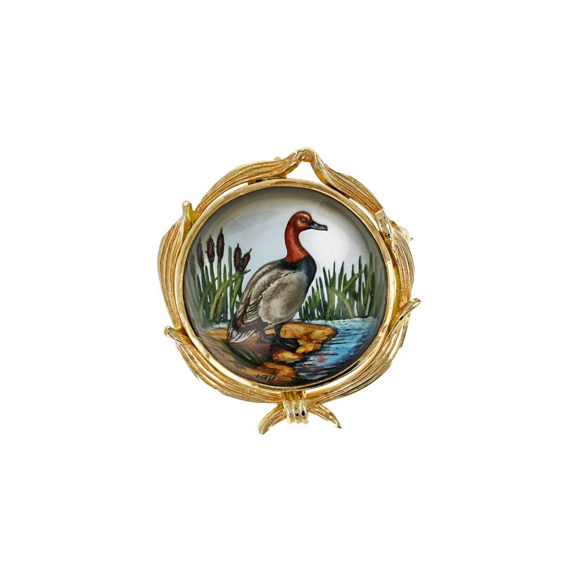 Estate Radcliffe Painted Duck Pin & Pendant