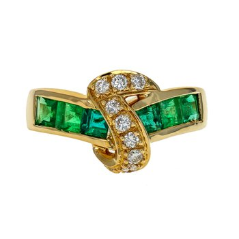 Emerald & Diamond Ribbon Ring