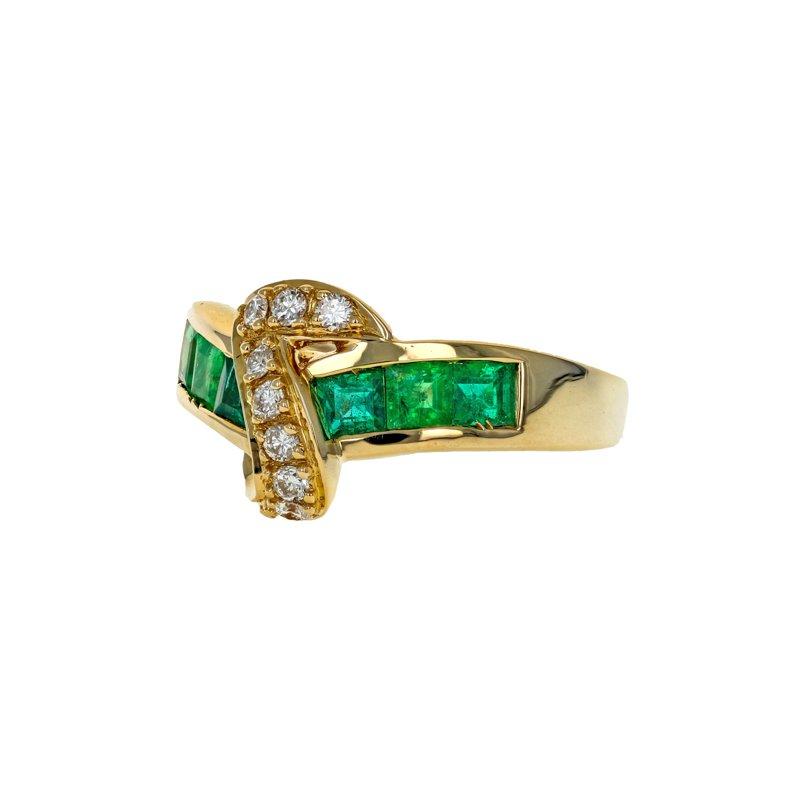 Estate Radcliffe Emerald & Diamond Ribbon Ring